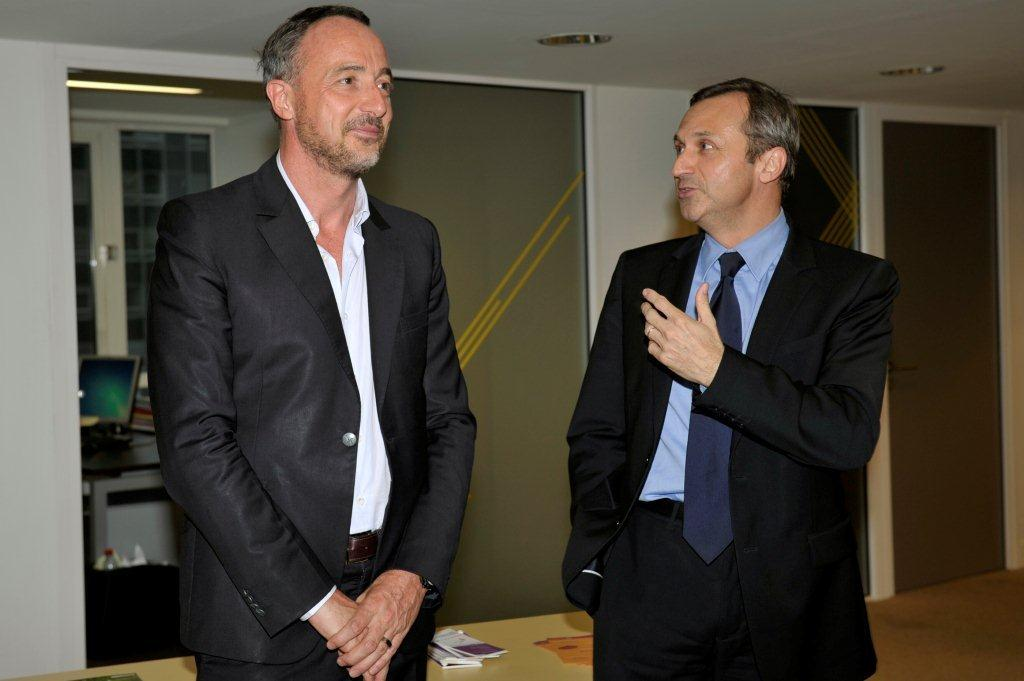 Joël PALIX, président de Clarins Fragrance et de Thierry Mugler, et JG Bliek, Directeur du développement économique de la Ville de Neuilly