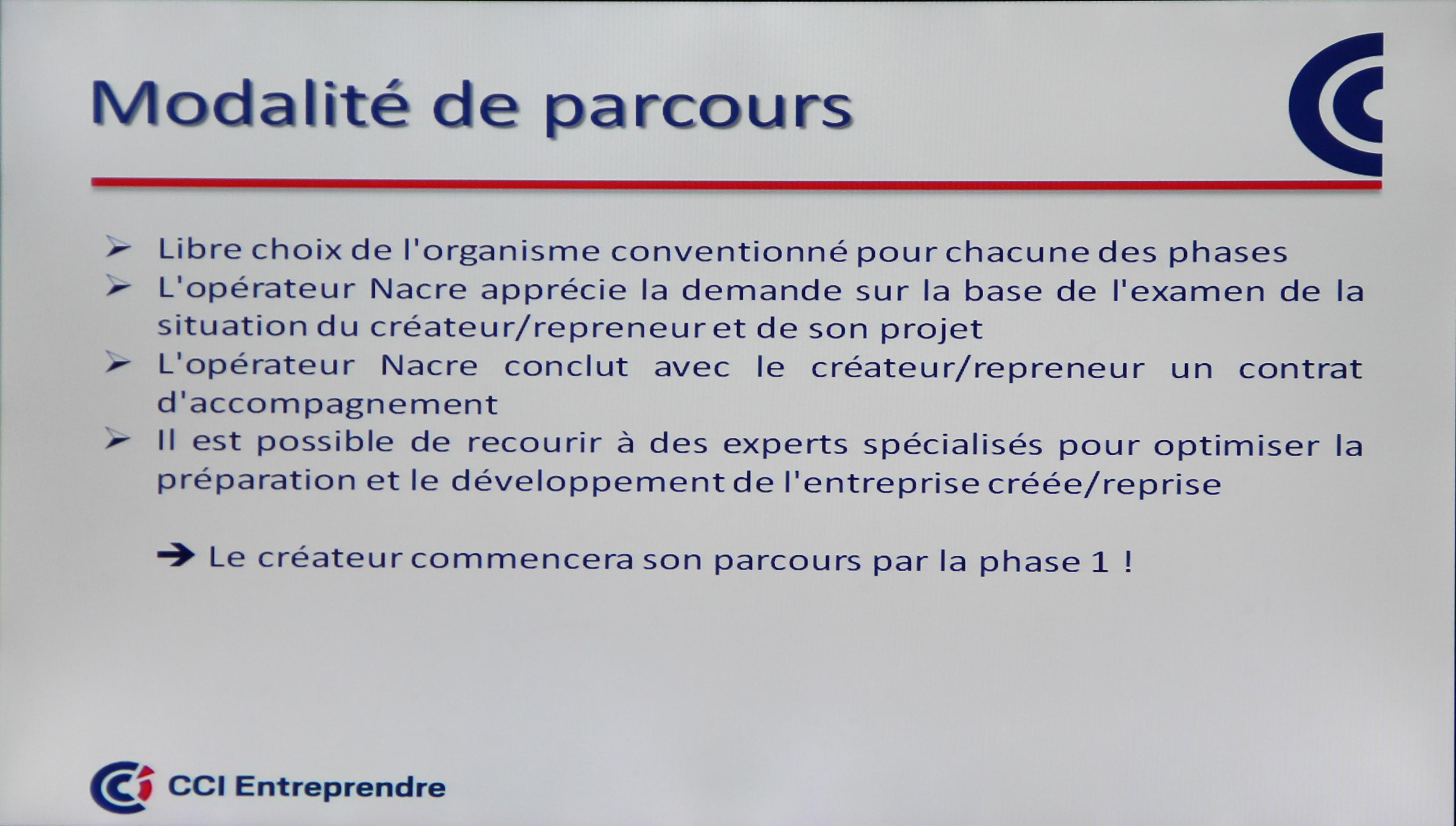 Extrait de l'atelier NACRE, parcours d'accompagnement et de financement de la création d'entreprise